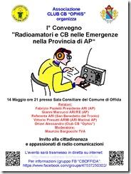 Locandina 1° Convegno Radioamamtori e CB nelle Emergenze