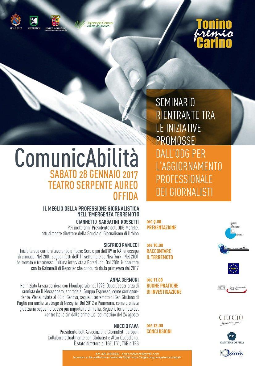 """Offida, seminario: """"Il meglio della professione giornalistica nell'emergenza terremoto"""""""